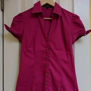 Pink short sleeve button down